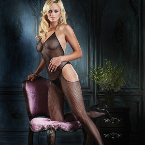 Leg Avenue VNeck Fishnet with Hip CutOut