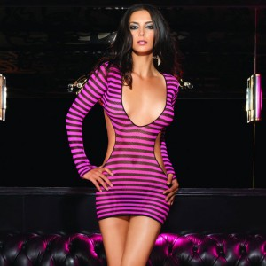 Leg Avenue 2 Piece Striped Fishnet Mini Dress with Cut Out Sides