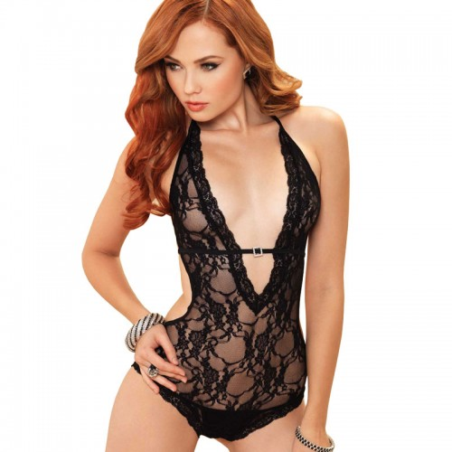 Leg Avenue Deep V Halter Teddy Black