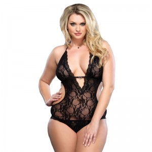 Leg Avenue Lace Deep V Halter Teddy UK 1618