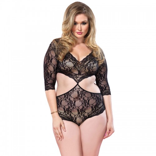 Leg Avenue Cut Out Floral Lace Teddy UK 1618