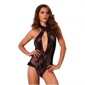 Leg Avenue Deep V Keyhole Halter Teddy UK 8 to 14