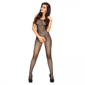 Passion Open Crotch Diamond Body Stocking Black