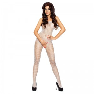Passion Open Crotch Diamond Body Stocking White