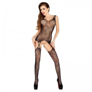 Passion Open Crotch Double Strap Leaf Body Stocking Black