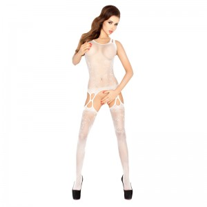Passion Open Crotch Double Strap Leaf Body Stocking White
