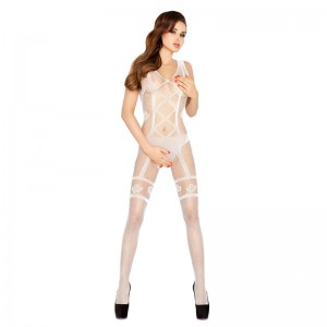 Passion Open Crotch Corset Look Body Stocking White