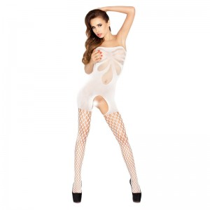 Passion Open Crotch Strapless Body Stocking White