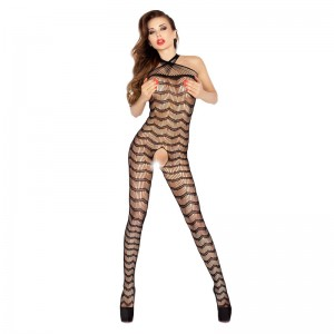 Passion Zig Zag Halter Neck Body Stocking Black