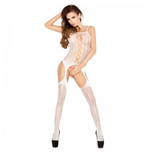 Passion Open Crotch Striped Body Stocking White