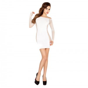 Passion Fishnet And Panelled Dress White