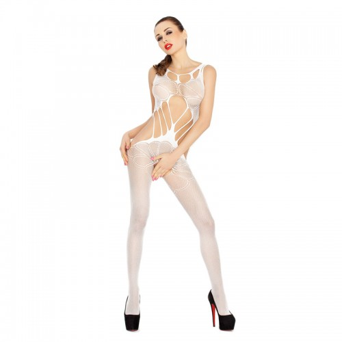 Passion Body Stocking With Cut Outs White