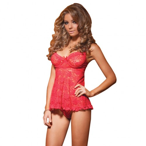 Coquette Red Stretch Lace Babydoll UK 1012