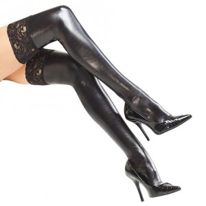 Coquette Wet look Stockings W/Lace UK 814