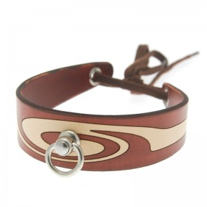 House of Eros Swirl Pattern Collar Brown and Cream With Ring