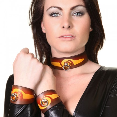 House of Eros Brown and Orange Swirl Cuff