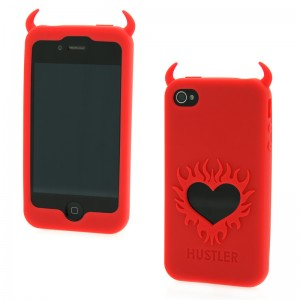 Hustler Silicone iPhone 4 and 4s Red Horny Heart Case