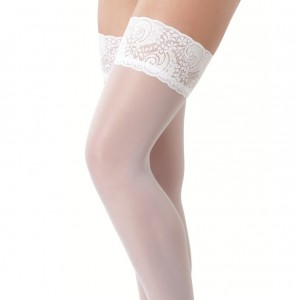 White Holdup Stockings with Floral Lace Top
