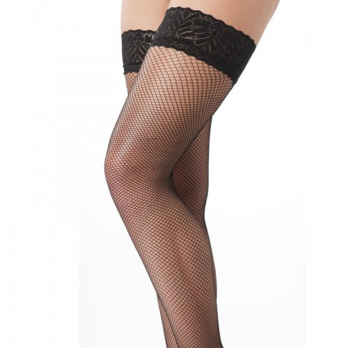 Black Fishnet Floral Holdup Stockings