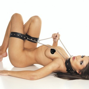 Leather Neck and Leg Chain Cuffs