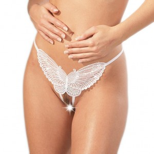 Sequined WHITE Butterfly GString Crotchless